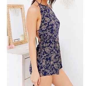 UO Out from Under Savannah Romper Paisley Blue